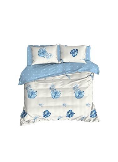 EnLora Home Enlora %100 Doğal Pamuk Nevresim Takımı Çift Kişilik Terezie  Mavi